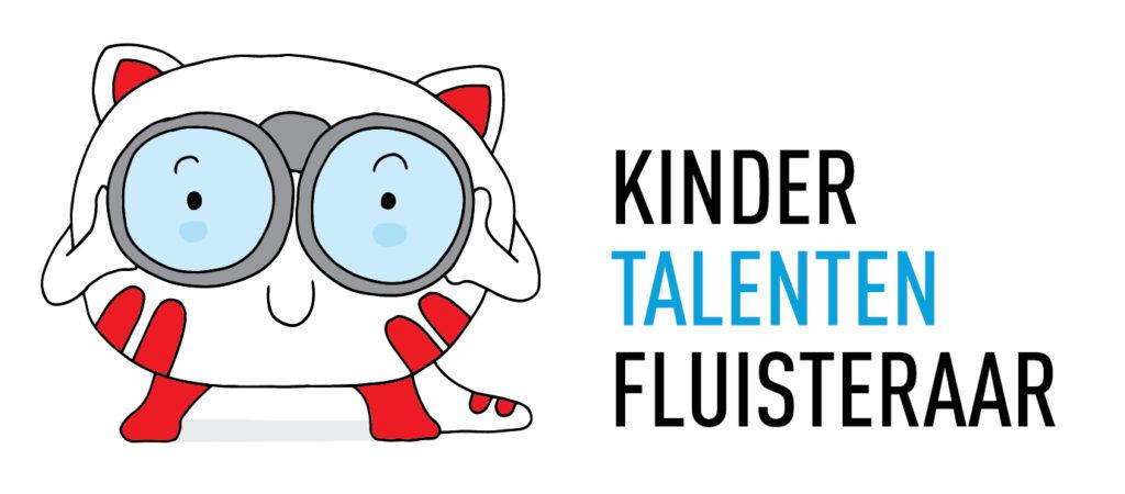 Links een grappig poppetje en rechts Kinder Talenten Fluisteraar